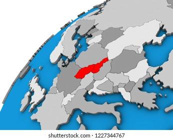 Czechoslovakia on 3D globe. 3D illustration.