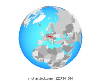 Czechoslovakia on blue political globe. 3D illustration isolated on white background.