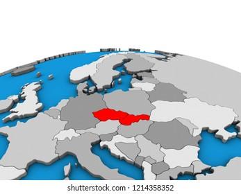 Czechoslovakia on political 3D globe. 3D illustration.