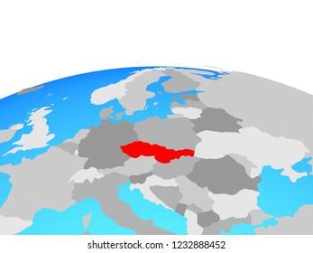 Czechoslovakia on political globe. 3D illustration.