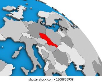 Czechoslovakia on simple blue political 3D globe. 3D illustration.
