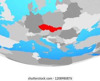 Czechoslovakia on simple political globe. 3D illustration.