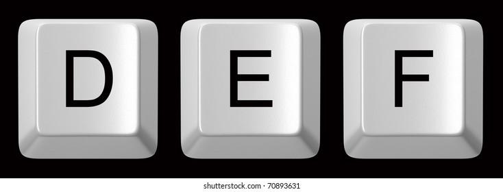 D, E, F white computer keys alphabet