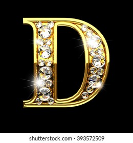 d isolated golden letters with diamonds on black
