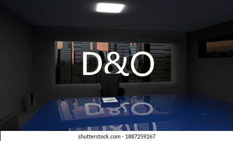 D and O. Directors and officers liability Insurance concept. Director's office with a large table and skyscrapers outside the window. 3d rendering