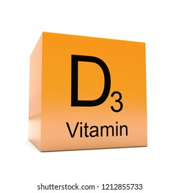 D3 vitamin symbol on yellow orange glossy cube on white background 3D render