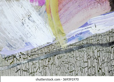 Dabs of paint on the background with cracks - craquelure
