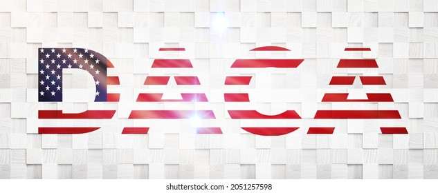 Daca text on an American flag ,3D illustration.