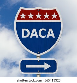 DACA USA Interstate highway sign, Red, white and blue interstate highway road sign with text DACA with sky background 3D Illustration