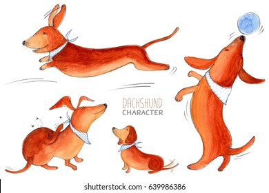 Dachshund character, dog emotion and feeling, fun, jump, play, scratch.