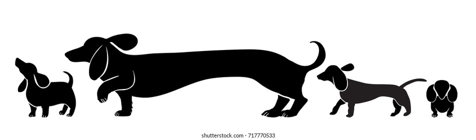 dachshund dog illustration collection, cute puppy silhouettes with mommy, cartoon fun style design,wiener or sausage doxie breed