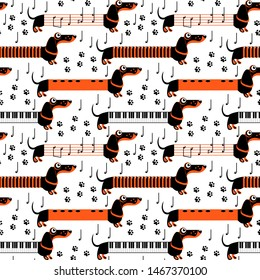 Dachshund dogs in the form of musical instruments and notes. Flute, piano, accordion. Seamless pattern. Funny flat illustration