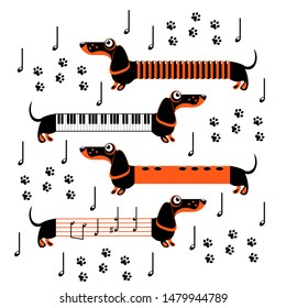 Dachshund dogs in the form of musical instruments and notes. Flute, piano, accordion. Funny flat illustration
