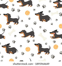 Dachshund seamless pattern. Adorable pets, funny dog long bodied breed, print for wrapping paper, textiles, wallpaper trendy  texture. Adorable puppy jumping , ball toy and bone