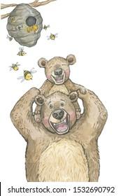 dad bear with kid run happy watercolor