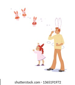Dad with a bunny suit blows bubbles for a daughter. Isolated on white background