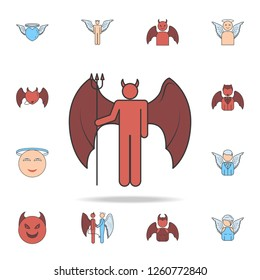 daemon color field outline icon. Detailed set of angel and demon icons. Premium graphic design. One of the collection icons for websites, web design, mobile app