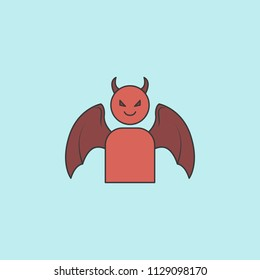daemon  icon. Element of angel and demon icon for mobile concept and web apps. Filled outline daemon  icon can be used for web and mobile on blue background