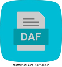 DAF File Document Icon In Trendy Style Isolated Background