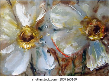 Daffodils, pale yellow delicate flowers, oil on canvas, painting, pictorial art