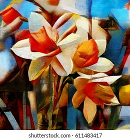 Daffodils of spring. A bouquet of beautiful flowers in a modern style and cubism from Picasso. Executed in oil on canvas with elements of fine art pastel painting. For gift and interior.