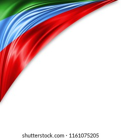 Dagestan flag of silk with copyspace for your text or images and white background.