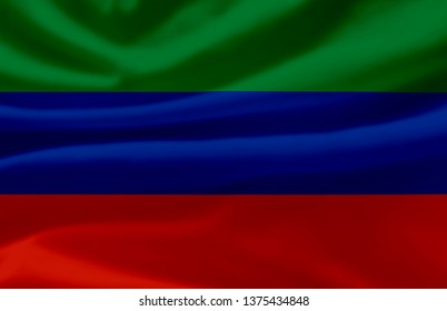 Dagestan waving flag illustration. Regions of Russia. Perfect for background and texture usage.