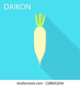 Daikon icon. Flat illustration of daikon icon for web design