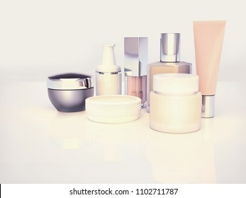 Daily, beauty care cosmetic. Face cream, eye cream, serum and lip balm located on a light gray. Skin care. 3D illustration