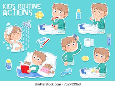 Daily routine actions - Little boy with light brown hair - tooth brushing, showering, combing hair, washing face...