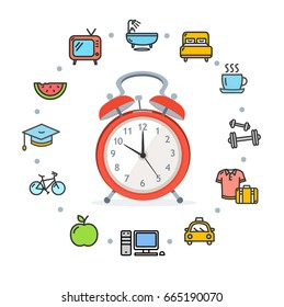 Daily Routines Concept Healthy Life Living Habit Icon Symbol Set with Alarm Clock. illustration