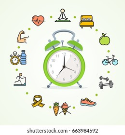 Daily Routines Fittness Concept Healthy Life with Alarm Clock Symbol. illustration