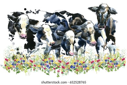 Dairy cow on the field watercolor illustration.  farms animal. Cute domestic pet