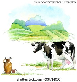 dairy cow watercolor illustration. milking breed. farms animal. Cute domestic pet