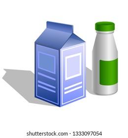 Dairy farm products symbol, milk packaging and yogurt bottle icon isolated on white background. illustration