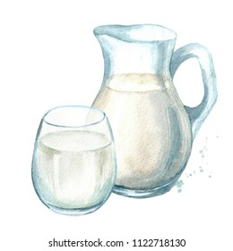 Dairy products. Jug with milk and glass. Watercolor hand drawn illustration isolated on white background