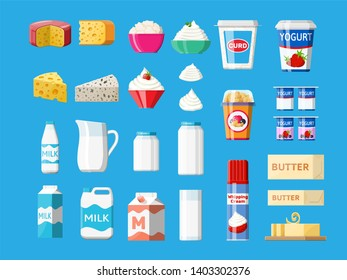 Dairy products set. Collection of milk food. Milk, cheese, yogurt, butter, sour cream, cottage, cream. Tradicional farm products. illustration in flat style