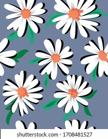 daisies for textiles on gray background