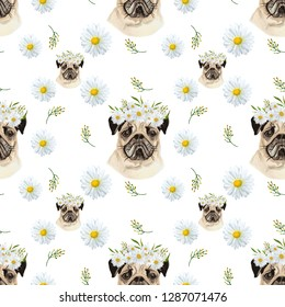 Daisy pug, seamless pattern. With watercolor meadow flowers, daisies, plants and pugs with daisy wreaths. Hand painted pugs lover background perfect for textile and scrapbooking. Illustration.