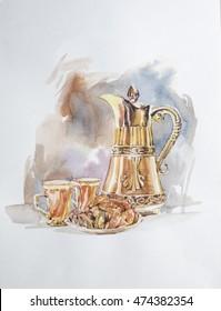 Dallah or Traditional Arabic coffee mug Painting