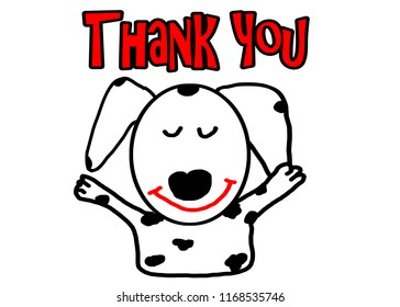 dalmatian dog cartoon in action thank you and show hand