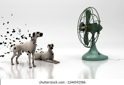Dalmatian dogs in front of a large fan removing their stains, 3d illustration
