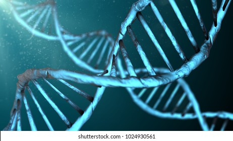 Damage to mitochondria DNA and RNA chromosome genetic disorder 3D illustration