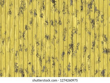 damage old yellow wood plank wall 3d illustration 35x25cm 300dpi