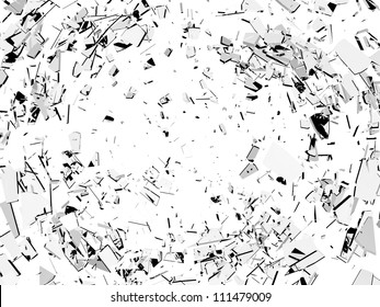 Damage and vandalism: Pieces of broken glass isolated on white