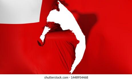 Damaged Abudhabi, capital of United Arab Emirates flag, white background, 3d rendering