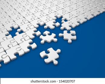 Damaged assembling of puzzle. 3D Illustration on blue background
