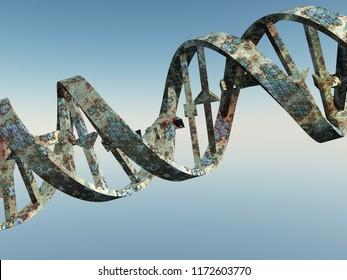 Damaged DNA Strands. 3D rendering