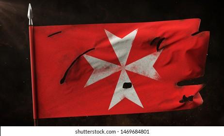 Damaged hospitaller flag waving on the spear. Old maltese cross knights war banner