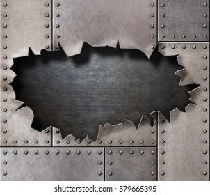 damaged metal armor with rivetsand torn hole 3d illustration